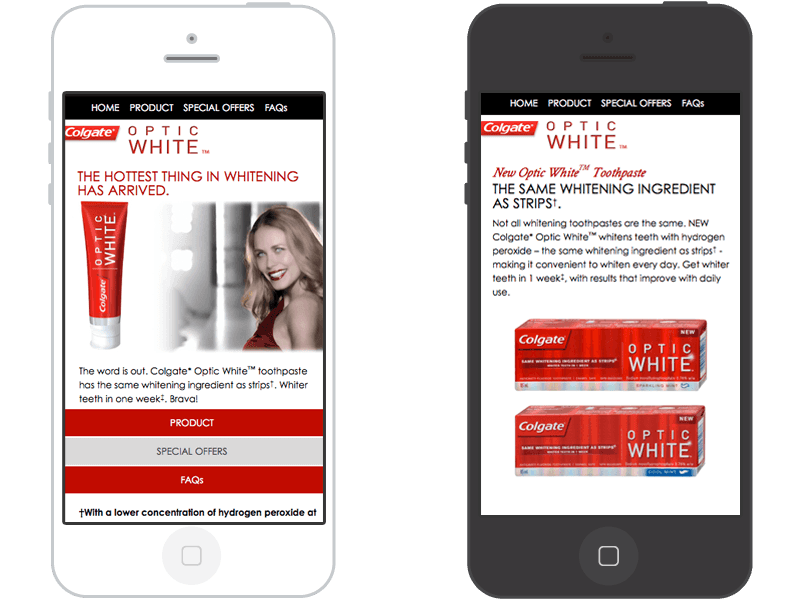 Colgate Optic White mobile page