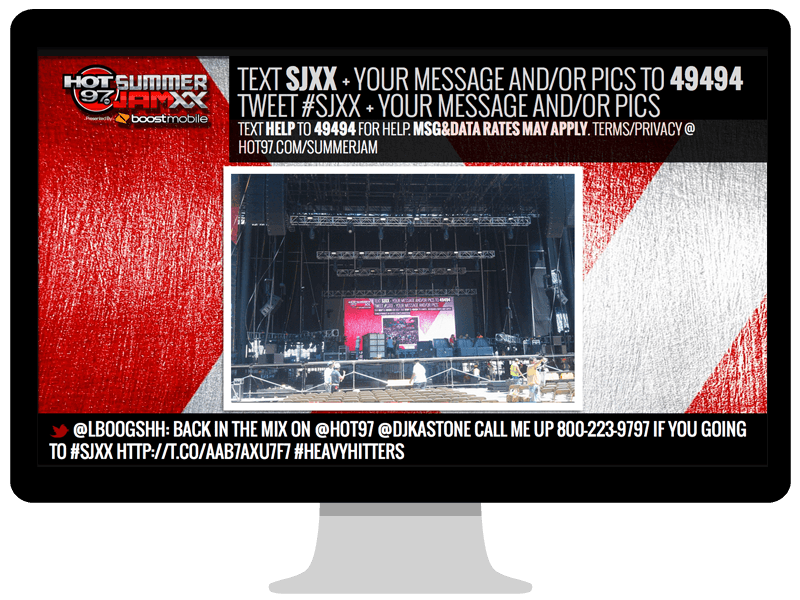 Hot97 Summer JamXX text to screen page
