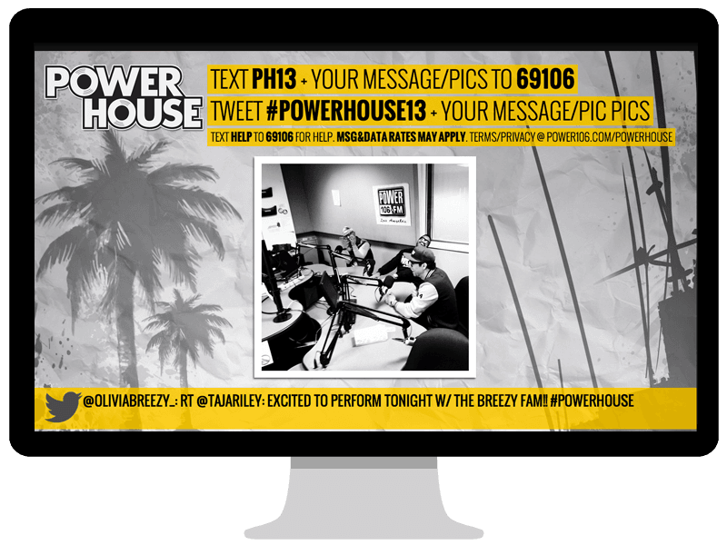 Power 106 PowerHouse text to screen page