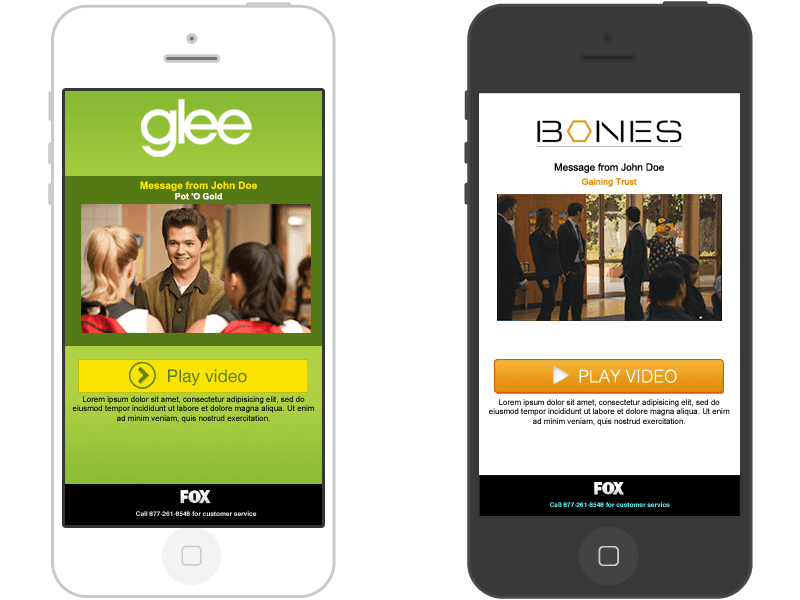 Fox's Glee and Bones landing page