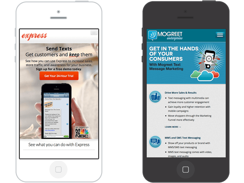 Mogreet Express and Enterprise responsive design